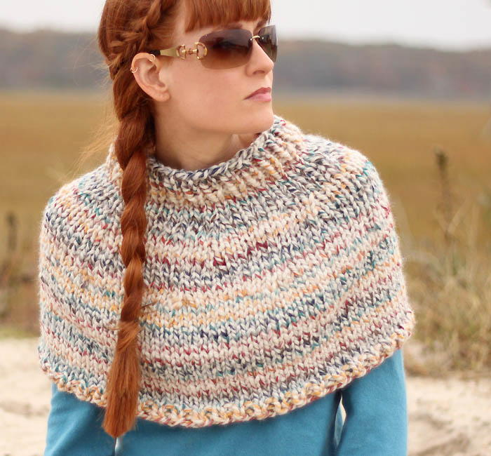 Knitting Patterns For Capelets Free : Fog Chaser Knit Cape AllFreeKnitting.com