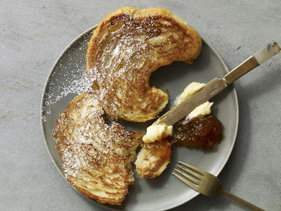 Seared Croissant with Honey Butter and Orange Marmalade
