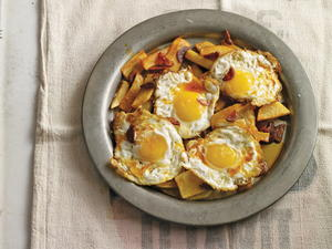 """Messy Eggs"" with Rough Cut Potatoes"