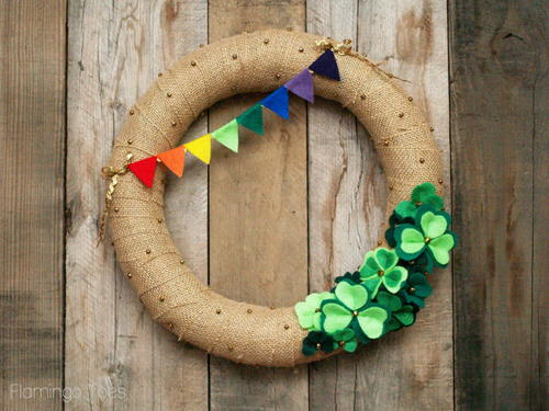 Lucky Shamrocks St Patricks Day Wreath