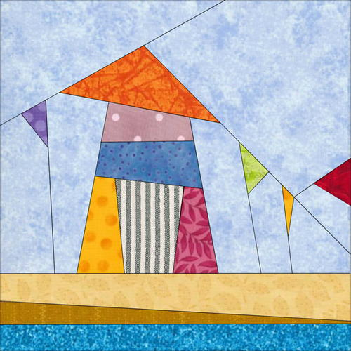 Rainbow Fishing Village Paper Piecing Pattern Favequilts Com