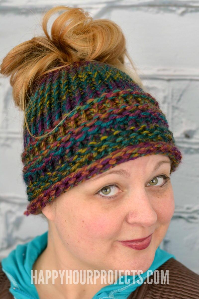 Loom Knitting Hat Patterns For Beginners : Loom knit bun hat allfreeknitting