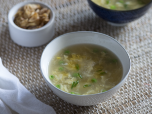 Egg Flower Soup with English Peas and Sweet Corn