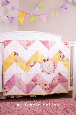 Glam Girl Chevron Baby Quilt