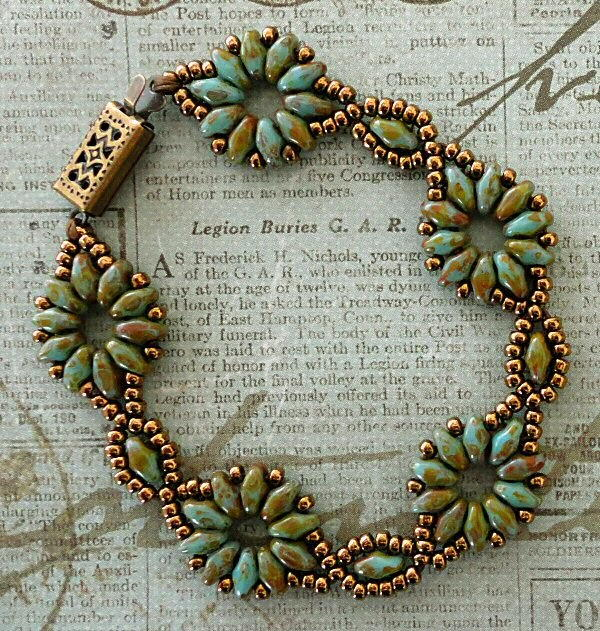 SuperDuo Flower Chain Beaded Bracelet