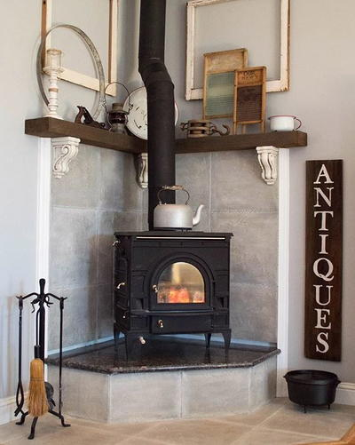Corner Fireplace Mantel Makeover