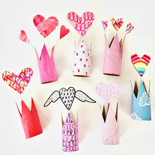 Queen of Hearts Crown Toilet Roll Craft