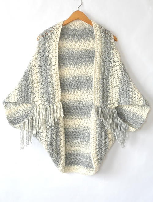 Easy Light Frost Crochet Blanket Sweater Shrug Allfreecrochetcom