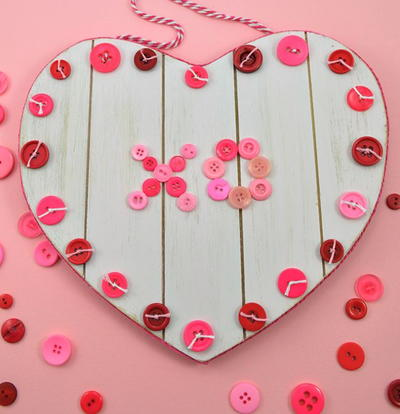 Rustic Button Valentines Heart