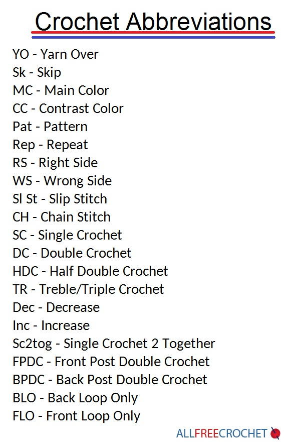hook up abbreviations Crochet hook sizes and abbreviations (us, uk and metric) this chart will help you transcribe patterns from us to uk terms and vice versa.