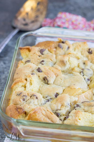 Chocolate Chip Cookie Dough Bread Pudding