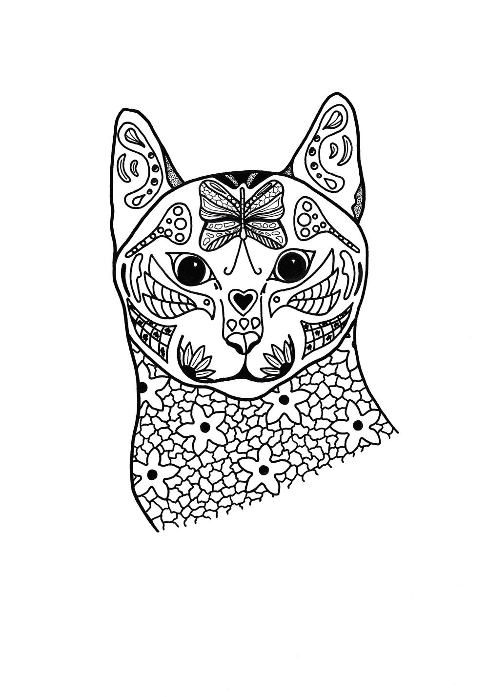 Springtime cat coloring page for Adult love coloring pages