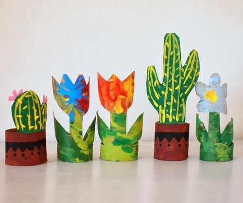 Flowers and Cacti Toilet Paper Roll Craft