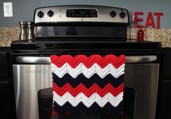 Beautiful Chevron Crochet Kitchen Towel