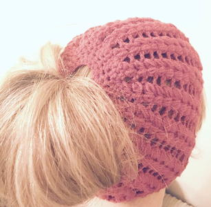 Messy Bun Puff Stitch Beanie