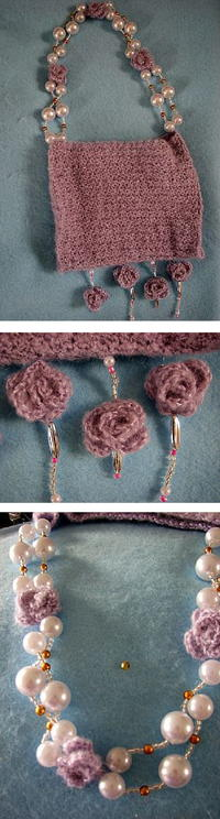 Lilac Purse with Pearl Beads and Crochet Roses