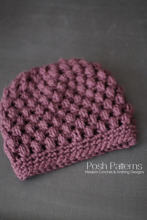 Puff Stitch Messy Bun Hat Crochet Pattern