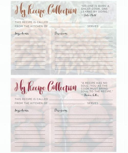 Printable Recipe Cards for Spring