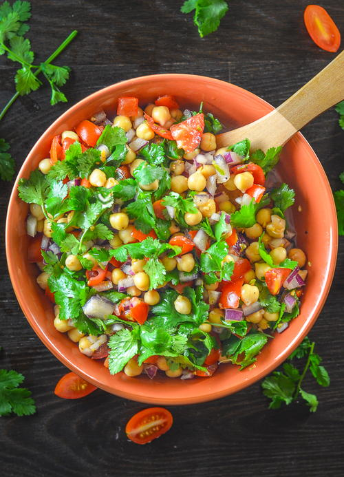 Tomato Chickpea Salad with Cilantro & Lime