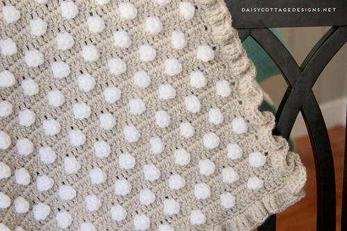 Polka Dot Puff Crochet Blanket