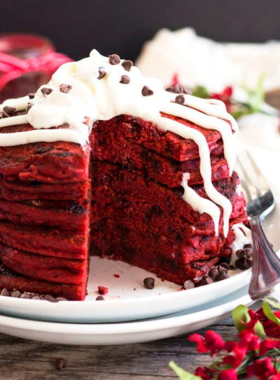 Bisquick Red Velvet Chocolate Chip Pancakes