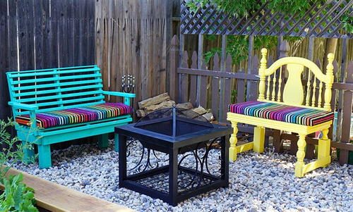 Colorful Upcycled DIY Easy Bench