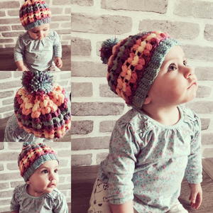 Rainbow Puff Stitch Beanie
