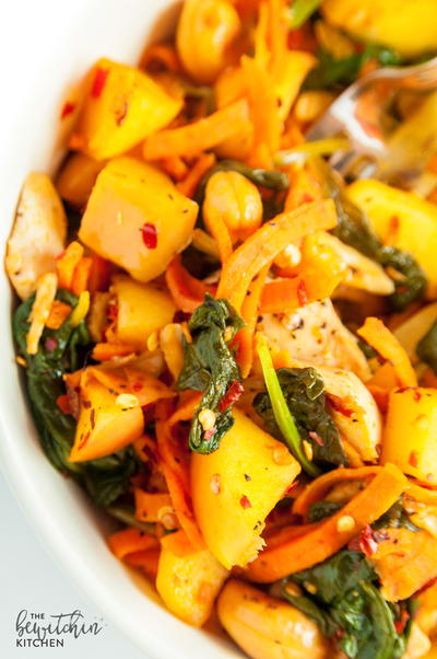 Spicy Chicken and Apple Sweet Potato Stir Fry