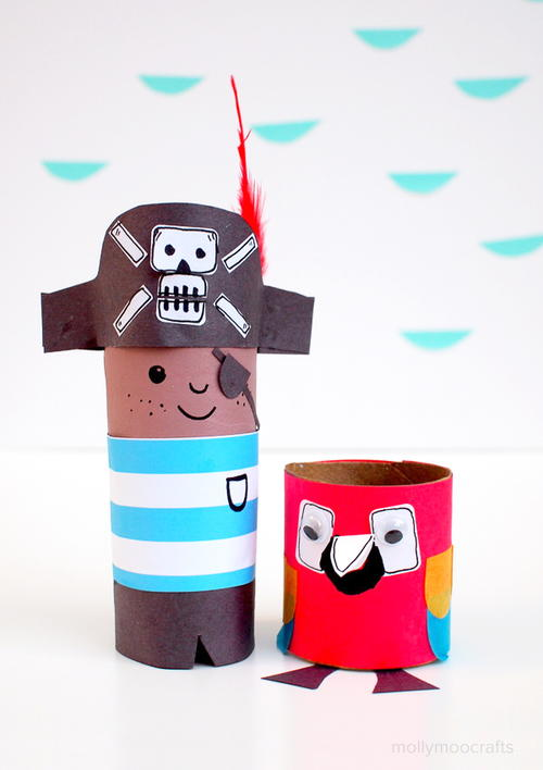 Toilet Roll Pirate and Parrot Craft