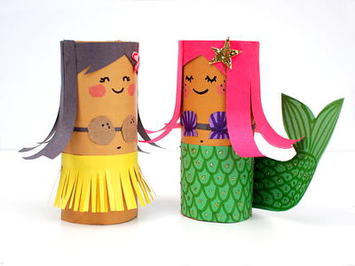 Toilet Roll Mermaid and Hula Girl Craft