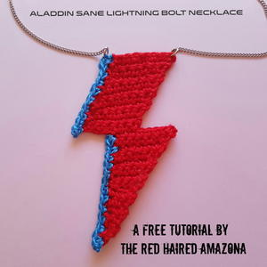 David Bowie Lightning Bolt Crochet Necklace