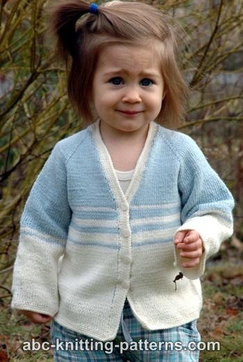 Baby Raglan Cardigan Knitting Pattern Free : Easy Stripes Seamless Cardigan AllFreeKnitting.com