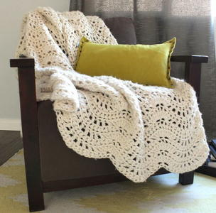 Cozy Feather and Fan Crochet Afghan