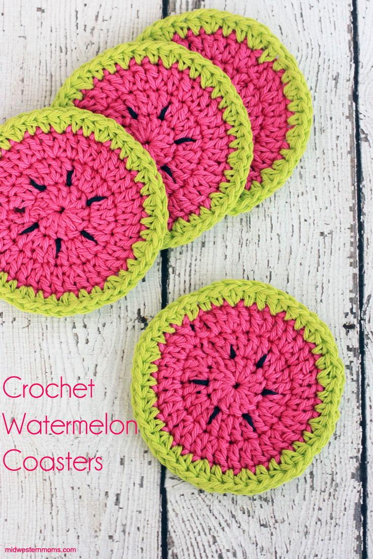 Watermelon Crochet Coasters | AllFreeCrochet.com