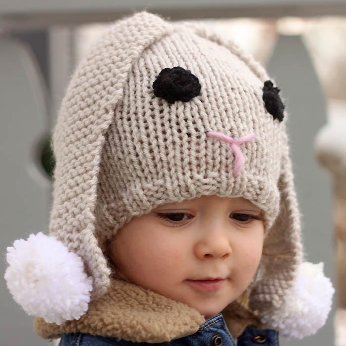 Knitting Pattern For Lace Baby Hat : Lil Baby Bunny Hat AllFreeKnitting.com