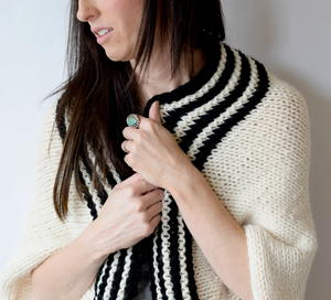 Classic Stripe Knit Blanket Sweater