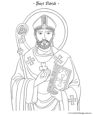 image about St Patrick's Printable Coloring Pages identified as Saint Patrick Printable Coloring Webpage