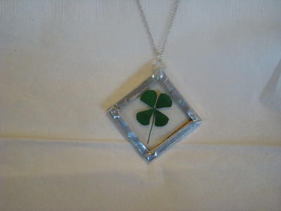 Glass Encased Lucky Shamrock Pendant