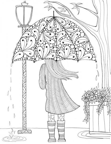 Prettiest Umbrella Girl Coloring Page FaveCrafts