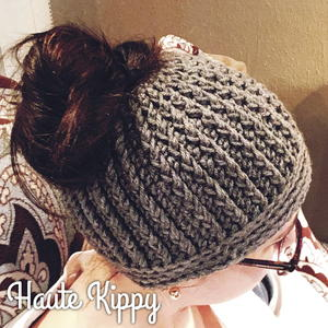 Crocheted Beanie with hole for Bun  Ponytail