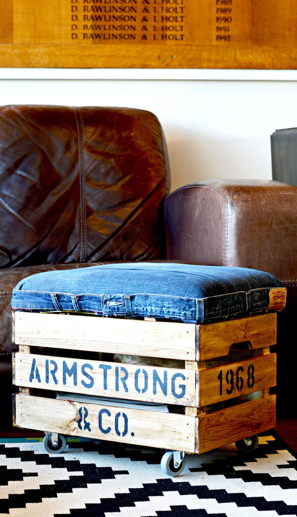 DIY Denim IKEA Crate Footstool with Storage