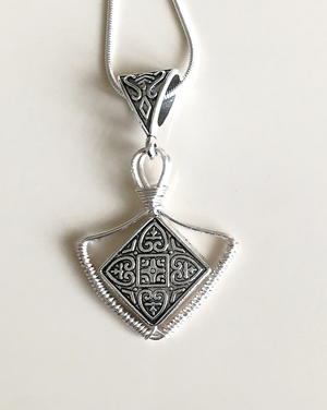 Half Diamond Shape Silver Pendant