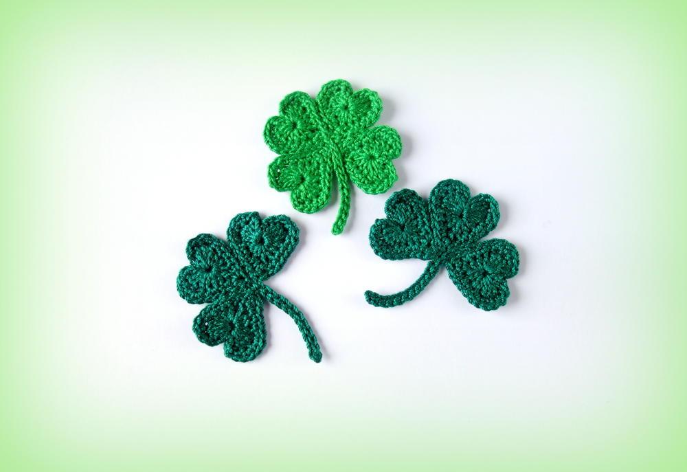 Crochet St Patricks Day Shamrock And Lucky Clover Appliqus