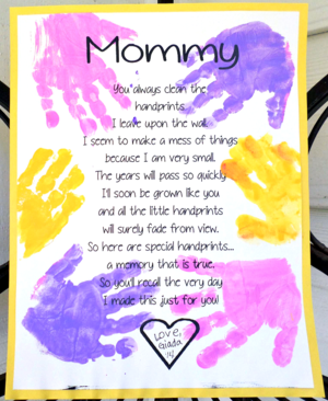 photo regarding Handprint Poem Printable referred to as Lovable Printable Poem for Moms Working day