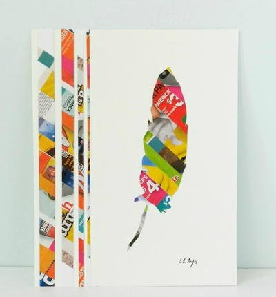 Vibrant Feather Junk Mail Art