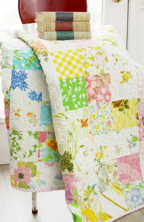 Spring in Scandinavian Vintage Sheet Quilt