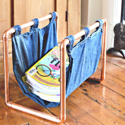 DIY Upcycled Denim and Copper Magazine Rack