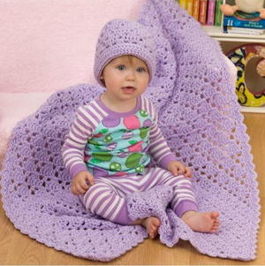 Easy One Ball Crochet Baby Blanket and Hat Set