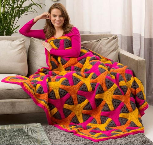 Bright Boomerangs Crochet Throw