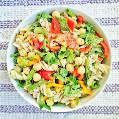 Pasta Salad with Sweet Peppers and Chickpeas